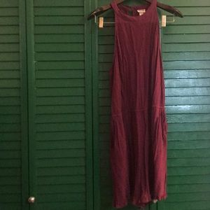 Maroon romper with pockets